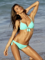 Alessandra Ambrosio having fun in light blue bikini at Victoria's Secret shooting in St.Barts from CelebMatrix