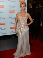 Julianne Hough braless wearing white lace transparent backless dress at Safe Haven premiere in Hollywood from CelebMatrix