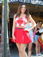 Kelly Brook wearing tiny red mini skirt  belly top outside the El Pub restaurant at a photoshoot in Miami from CelebMatrix