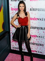 Victoria Justice cleavy and leggy at Teen Vogue 10th Anniversary at Aeropostale in New York from CelebMatrix