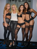 Jenny McCarthy groping  getting groped with her guests in lingerie  stockings at her own show from CelebMatrix