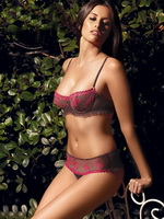 Camille Piazza busty wearing provocative lingerie and bikinis at a new Aubade collection photo session from CelebMatrix