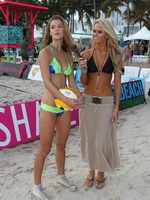 Nina Agdal bursting out her tiny bikini at Dirty Dutch Model Beach Volleyball in Miami from CelebMatrix