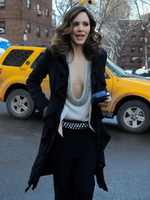 Katharine McPhee showing huge cleavage while heading to the Fall 2013 Mercedes-Benz Fashion Week in NYC from CelebMatrix