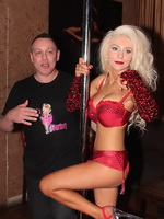 Courtney Stodden wearing red hot lingerie at a pole-dancing show in some LA night club from CelebMatrix