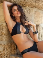 Beautiful Irina Sheik trying to hide her perfect naked body at Sports Illustrated 2013 Swimsuit photoshoot from CelebMatrix