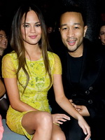 Christine Teigen upskirt wearing no panties at 2013 Mercedes-Benz Fashion Week from Mr Skin