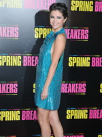 Selena Gomez braless wearing blue backless mini dress at Spring Breakers premiere in Paris from Mr Skin