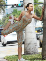 Andressa Urach bursting out of snake print leotard while working out in Miami Beach from Mr Skin