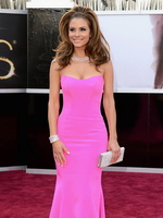 Maria Menounos bursting out of tight pink backless maxi dress at 85th Annual Academy Awards in Hollywood from Mr Skin