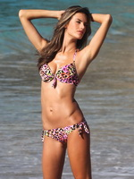 Alessandra Ambrosio wearing skimpy leopard print bikini at a beach while shooting for Victoria's Secret in St.Barths from Mr Skin