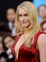 Leven Rambin braless showing huge cleavage in a hot red maxi dress at The Hunger Games premiere in LA from Mr Skin