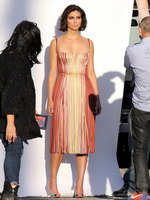 Morena Baccarin busty and leggy wearing two strapless dresses at a Vanity Fair photoshoot in LA from CelebMatrix