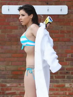 Roxanne Pallett wearing tiny striped bikini at Champneys Health Spa in Hertfordshire from CelebMatrix