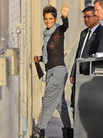 Halle Berry braless wearing black transparent top while arriving at Jimmy Kimmel's live show in Hollywood from CelebMatrix