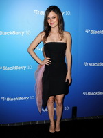 Rachel Bilson wearing black tube mini dress at Blackberry Z10 Smartphone Launch in Los Angeles from CelebMatrix