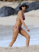 Jessica Alba wearing tiny purple bikini at the beach in St.Barts from CelebMatrix