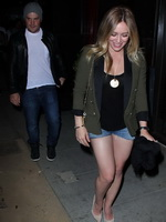 Hilary Duff wearing denim shorts and see-thru to bra while leaving Mercato Di Vetro in West Hollywood from CelebMatrix
