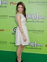 Sarah Hyland wearing retro white mini dress at the Skip And Donate Gala Event in West Hollywood from CelebMatrix