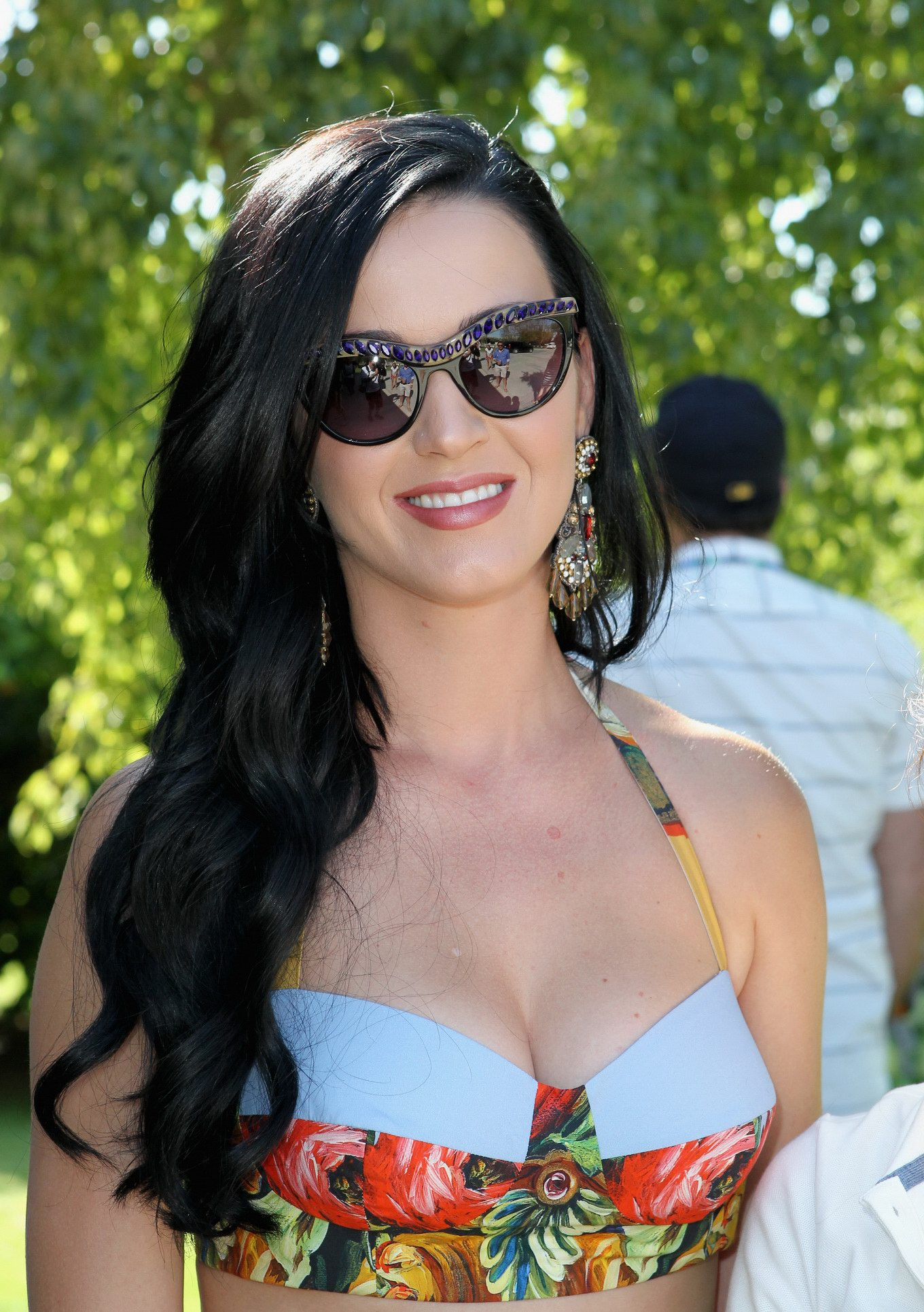 Katy Perry Wearing Folk Designed Bikini Top And Mini Skirt