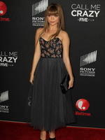 Sarah Hyland showing huge cleavage in a sexy strapless dress at the Call Me Crazy premiere in Hollywood from CelebMatrix