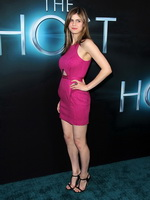 Alexandra Daddario wearing tight pink mini dress at The Host premiere in Los Angeles from CelebMatrix