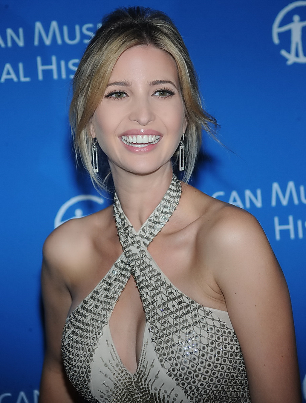 Ivanka Trump showing big cleavage in a tight dress at the ...