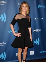 Jennifer Lawrence wearing black partially see-thru mini dress at 24th Annual GLAAD Media Awards in Los Angeles from CelebMatrix