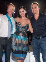 Katy Perry showing big cleavage in a hot strapless dress at The Smurfs 2 party at in Cancun from CelebMatrix