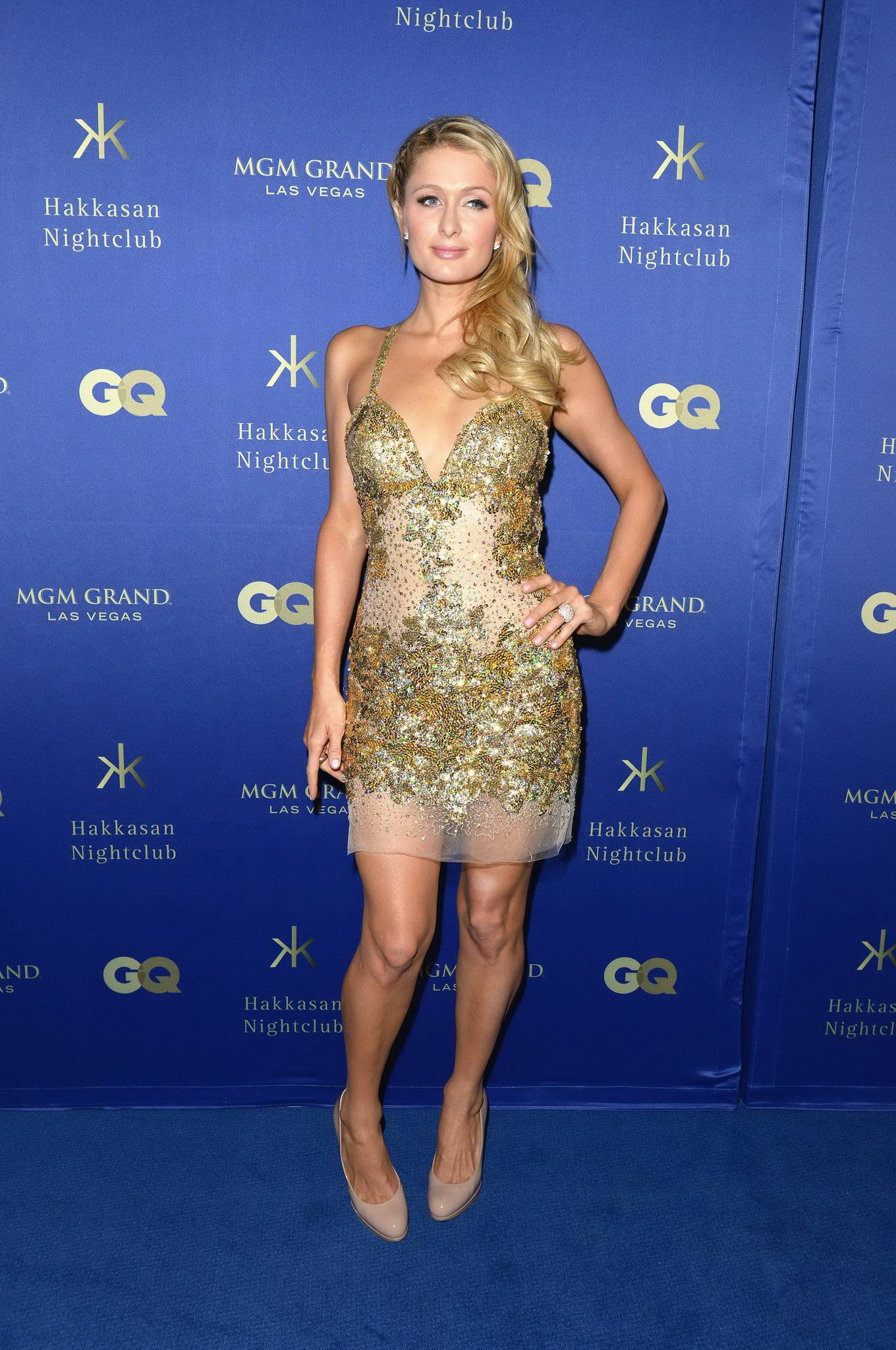 Paris Hilton Wearing Tiny Golden Mini Dress At Grand Opening Of The