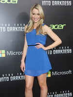Katrina Bowden leggy wearing sheer blue polka dot mini dress at the Star Trek Into Darkness screening in New York from CelebMatrix