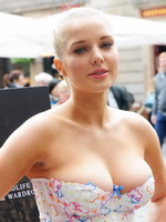 Helen Flanagan braless showing huge cleavage in a tiny tube top at the PETA Anti-Exotic Skin Campaign Launch in London
