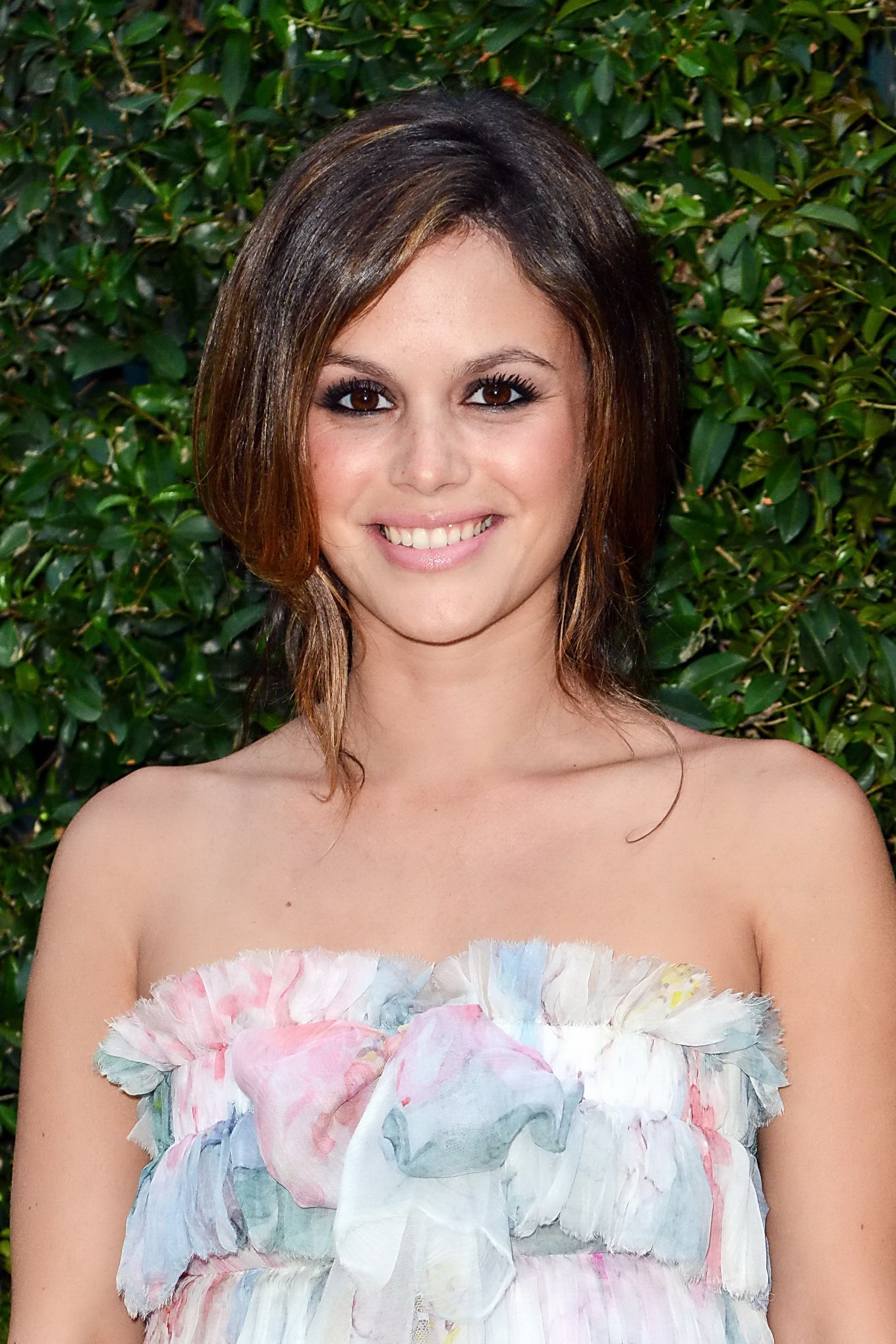 Rachel Bilson Wearing Short Floral Tube Dress At The