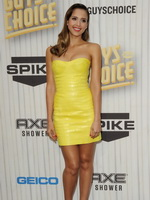 Jessica Alba busty wearing yellow leather mini dress at the 2013 Guys Choice Awards in Culver City from CelebMatrix