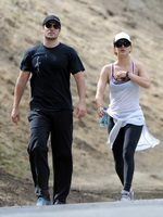 Kaley Cuoco wearing transparent tank top and tights while hiking on Hollywood Hills from CelebMatrix