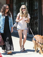 Amanda Seyfried cleavy and leggy wearing top and denim shorts while walking her dog in Los Angeles from CelebMatrix