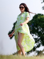 Eliza Doolittle upskirt wearing wide open green floral dress at the park in London from CelebMatrix