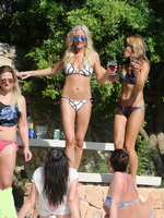 Denise Van Outen and Zoe Hardman wearing tiny bikinis while having fun at the pool in Ibiza from CelebMatrix