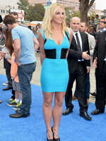 Britney Spears busty showing big cleavage in a blue mini dress at The Smurfs 2 premiere in Los Angeles from CelebMatrix