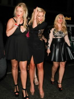 Helen Flanagan braless flashing her huge assets in black partially see-through mini dress drunken after her birthday party in Manchester from CelebMatrix