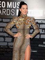 Katy Perry wearing high slit leopard print dress at 2013 MTV Video Music Awards in New York from CelebMatrix