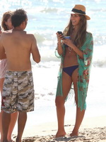 Jessica Alba wearing tiny purple bikini at the beach in Malibu from CelebMatrix