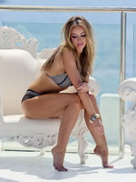 Lauren Pope showing off her hot bikini body at the photoshoot in Ibiza from CelebMatrix