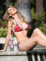 Tiffany Toth wearing tiny red bikini and see-through lingerie at 138 Water photoshoot in Beverly Hills from CelebMatrix