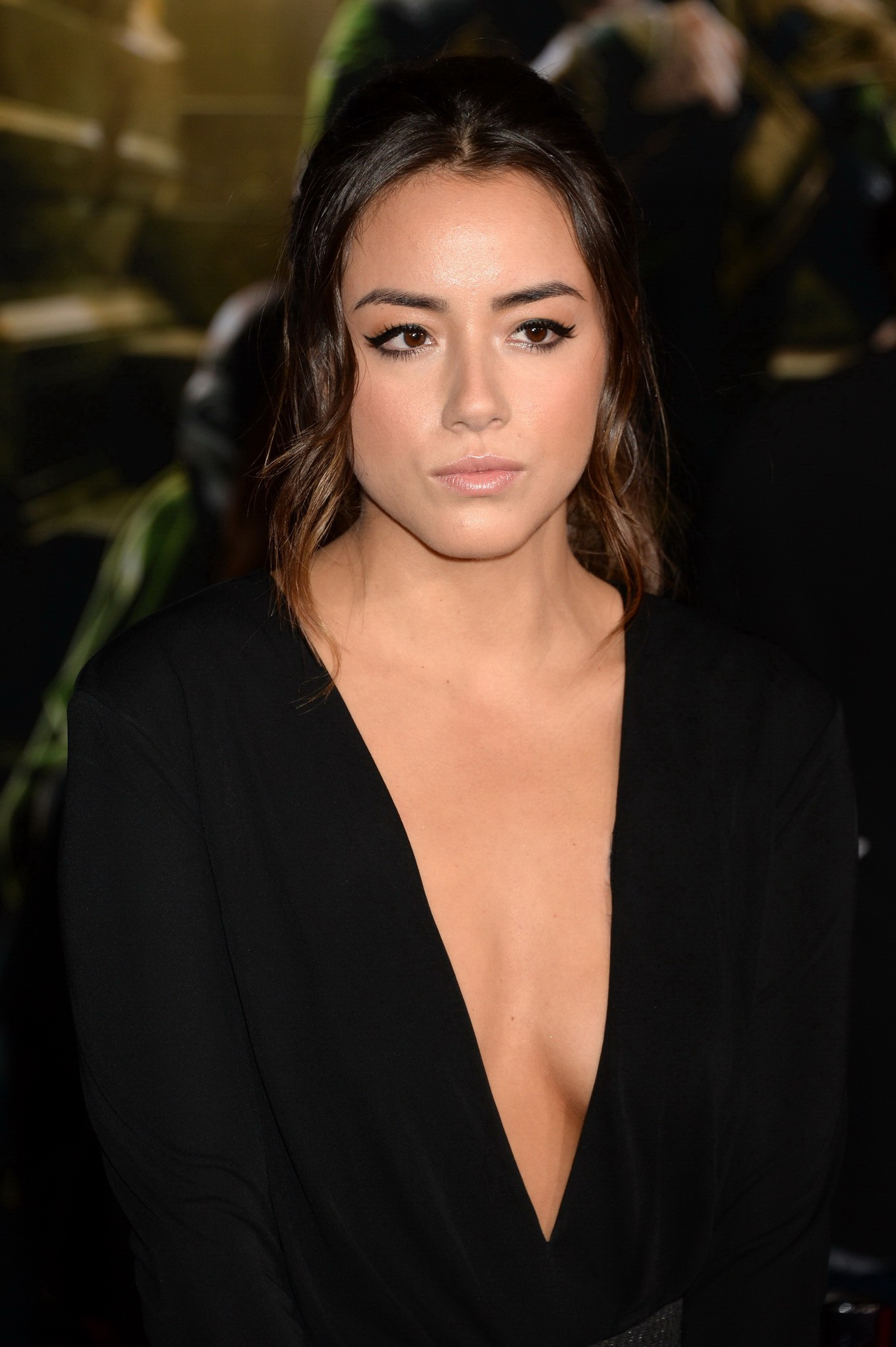 image Chloe bennet cleavage in dress
