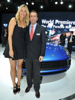 Maria Sharapova cleavy and leggy wearing black mini dress at Porsche Macan World Premiere on the LA Auto Show from CelebMatrix
