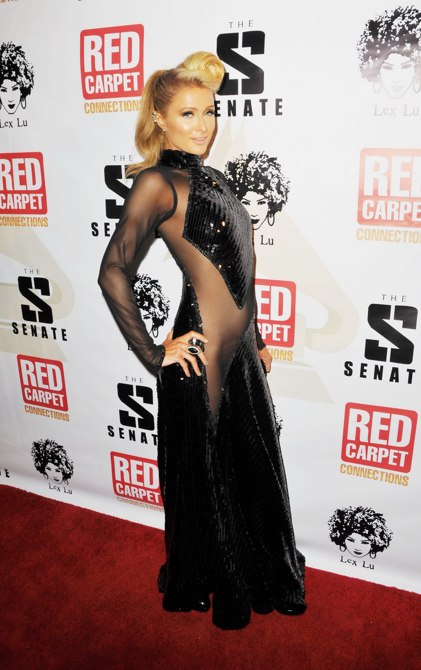 Paris Hilton Naked Under Black See Through Dress At Th Annual Red