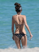 Nicole Trunfio wearing skimpy polka-dot bikini at the beach in Miami from Celebs Dungeon