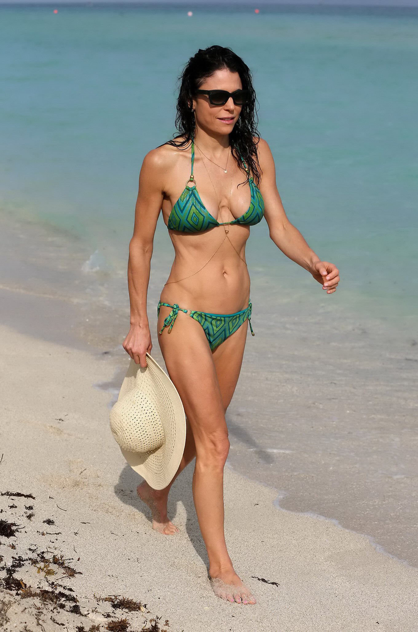 frankel shows off her hot body in a tiny green bikini at miami beach