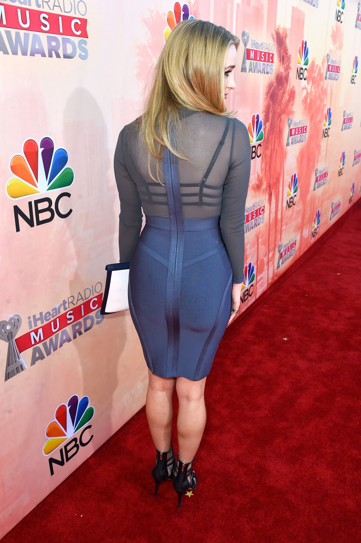 greer grammer see through to bra at 2015 iheartradio music awards in